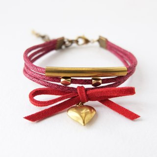 Red triple layers brass materials and nautical charm bracelet