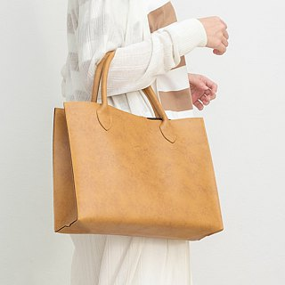 Leather Tote Bag (Tan)