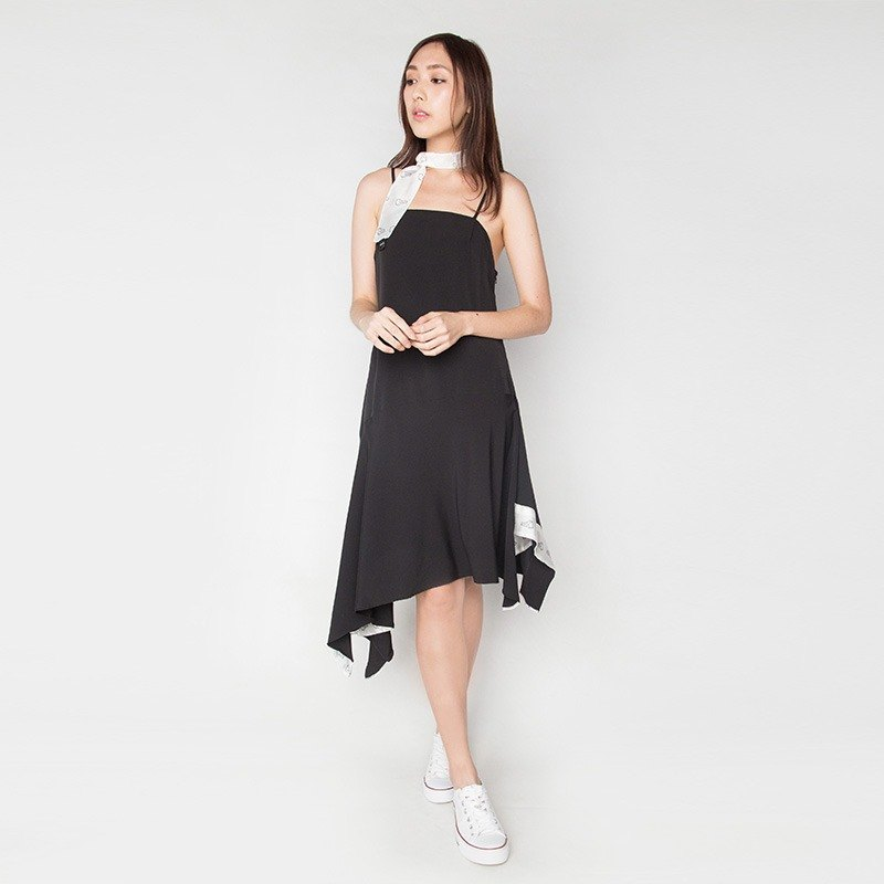CAMI HANDKERCHIEF DRESS IN BLACK, LCC DRESS 3