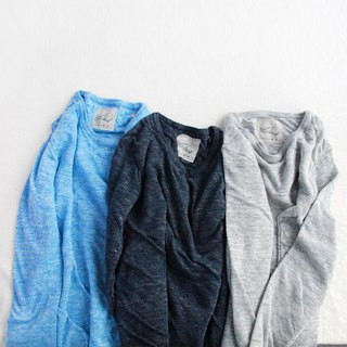 Linen knit women / S long sleeve pullover saxblue / melange