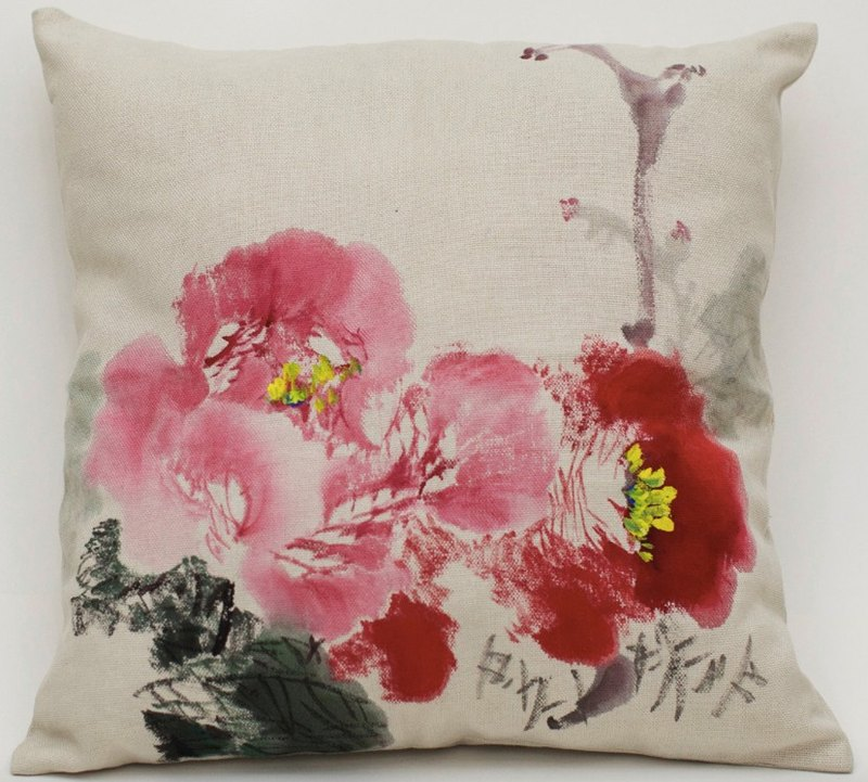 Cotton Pillow Cover with Hand Painted Peony