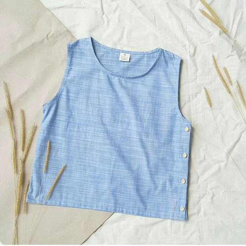 Linen Tank top with Wooden buttons - Blue