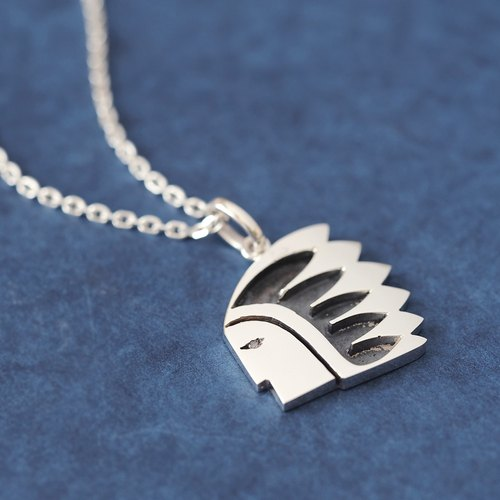 Indian face men's necklace 925 Silver