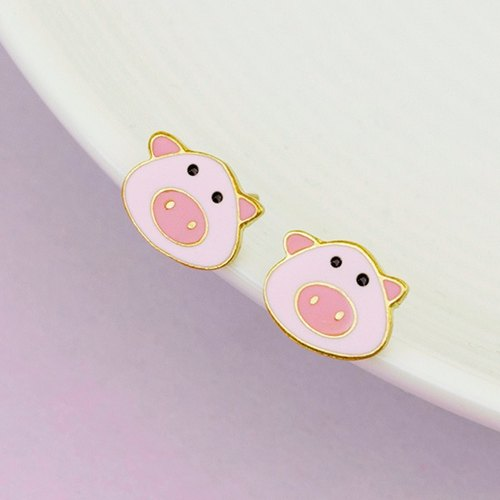 Piggie Earring with 925 Sterling Silver backing - Last piece