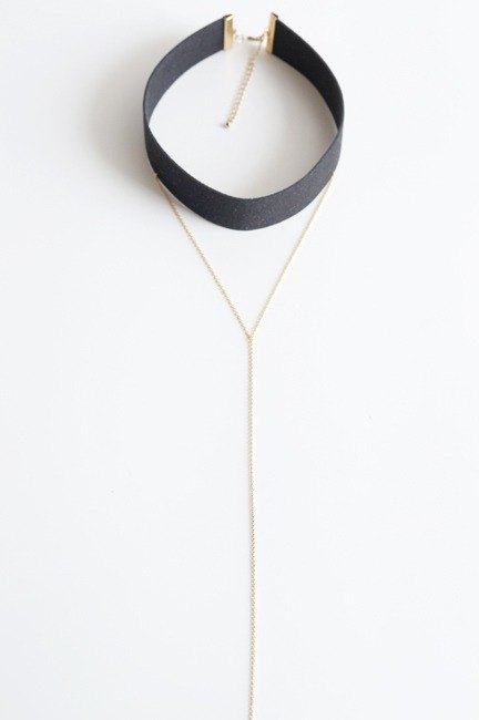 【Smooth Artificial Black Leather Choker-A-】