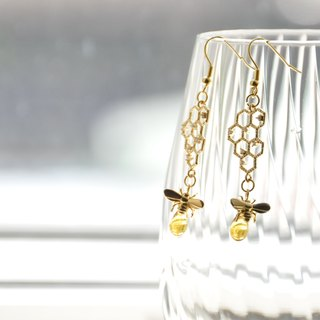 armei '甜蜜蜜'采蜜 耳环 'My Honey' Honeycomb Honeybee earrings