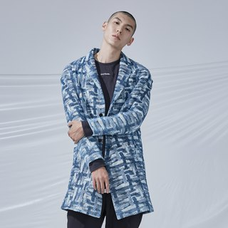DYCTEAM - Cross Pattern Jacquard Parka 丹宁缇花十字西装大衣
