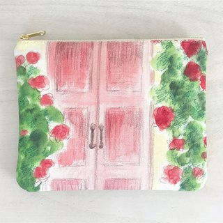 Joy Flowery Flat Pouch Red