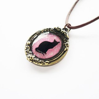 Cat silhouette necklace ☆ Pink Glitter ☆