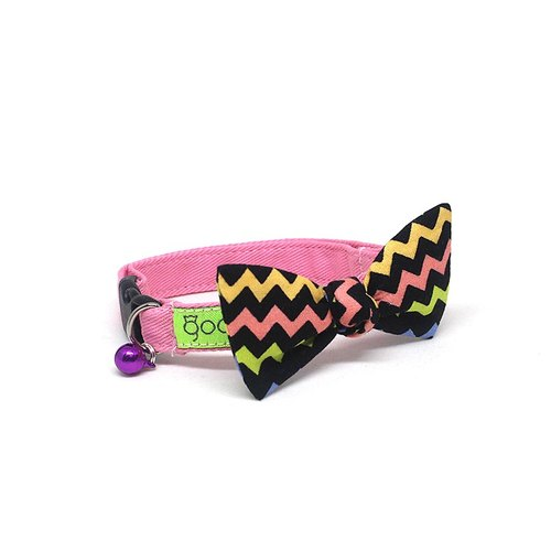 GOOOD Cat Collar | Flutterfly - Wiggy Wagga | 100% Rainbow Waves & Black Cotton Fabric | Safety Breakaway Buckle