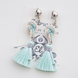 Cream & Light mint heart knotted rope with tassel earrings