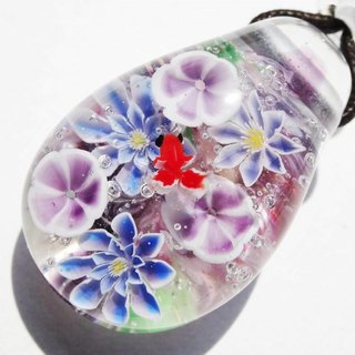 Morning glory and clematis and goldfish glass Tonbonball pendant Asagao summer