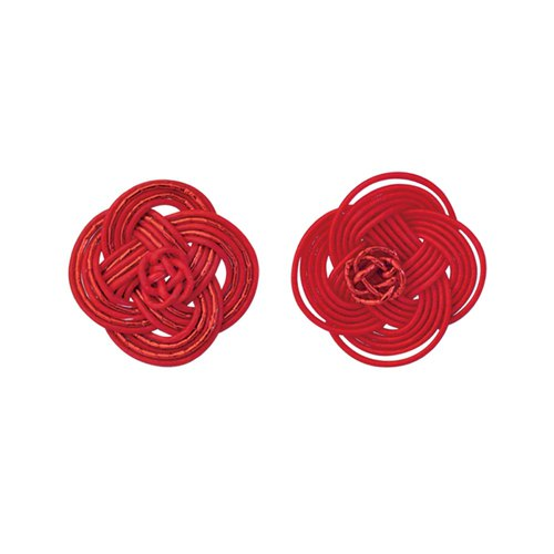 "Mizuhiki Pierced earrings ""Rape blossoms"" -Red×Red-"
