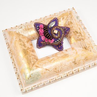 Star shaped brooch, colorful brooch, embroidered statement brooch, purple 6