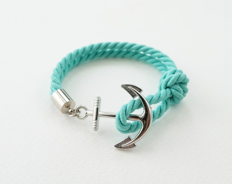 Anchor bracelet / Matte mint twisted rope