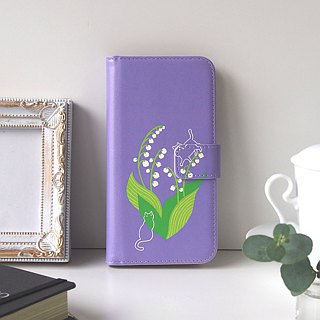 Notebook type phone case - Lily of the valley and Cat -