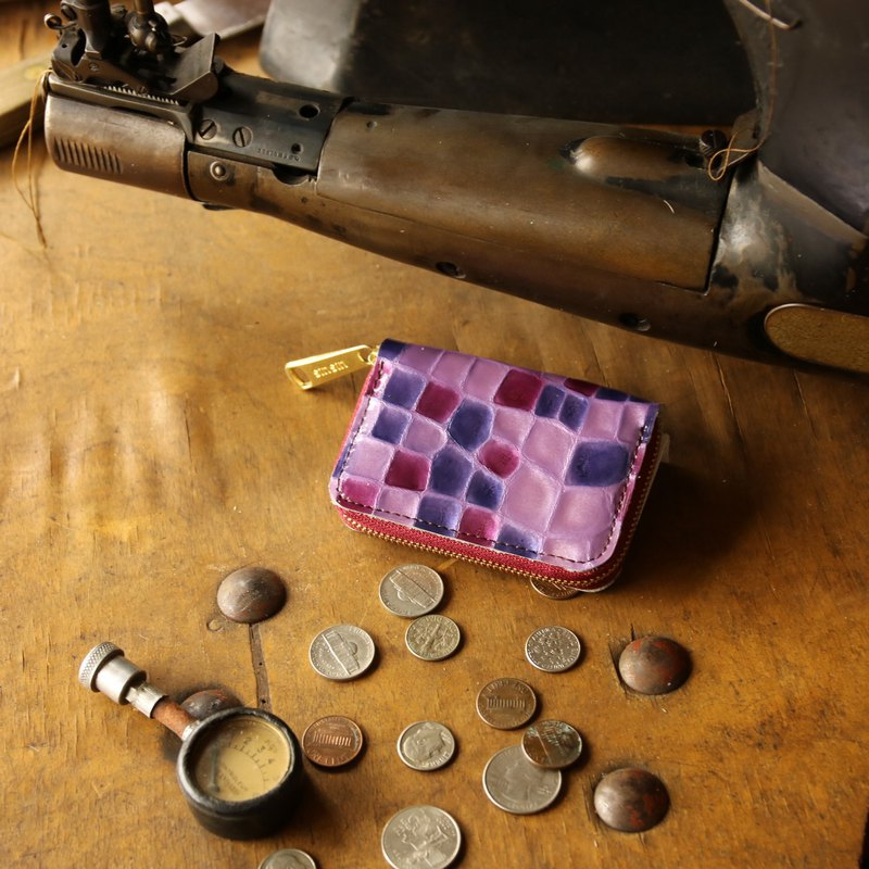 Japan Manufacturer's cowhide coin payment coloring vivid purple made in JAPAN handmade leather wallet coincase