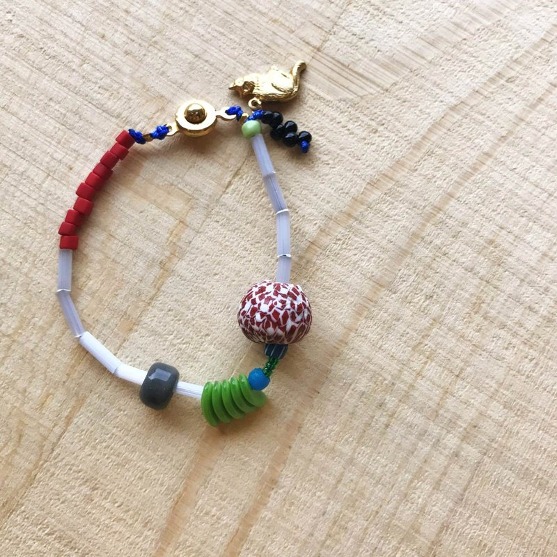 [ Cat and Mice • Beads beat Beads] bracelet collection-013 葱白。