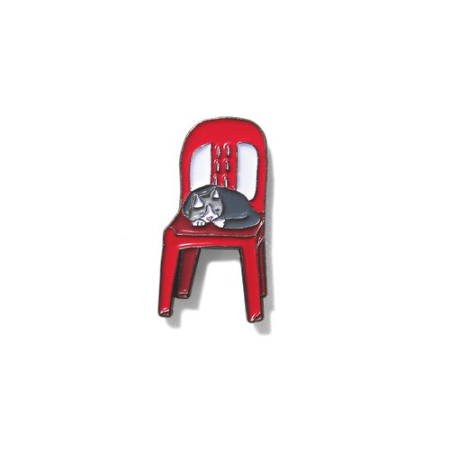 Cat On red Chair Pin