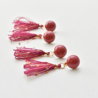 Dome tassel earrings / Wine-red
