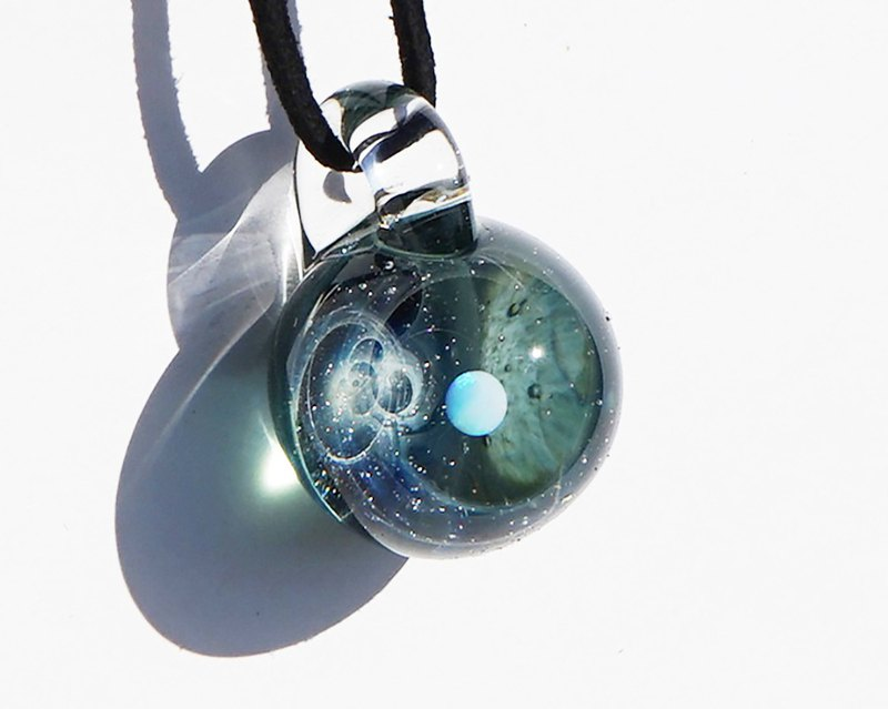 Transparent shine You are the only star. White opal · green sparkle glass pendant universe
