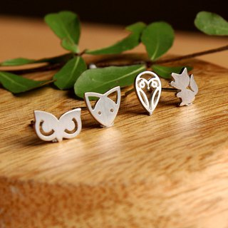 Goody Bag - Foxy Owl Set - 4 pairs of Fox&Owl Silver Earrings / Handmade / 银耳环