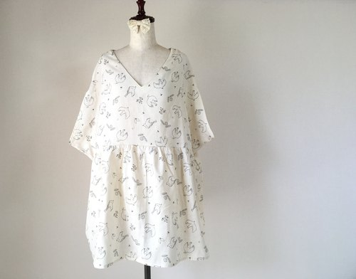 Dandelion and small bird tunic dress * Fluffy double gauze * Cream