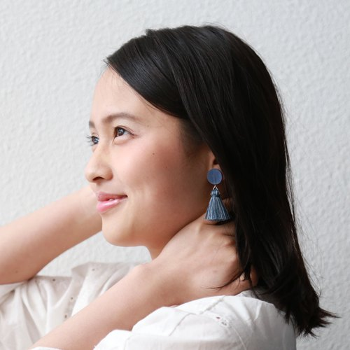 流苏耳针耳环 深蓝 Tassel paper earrings -dark blue-