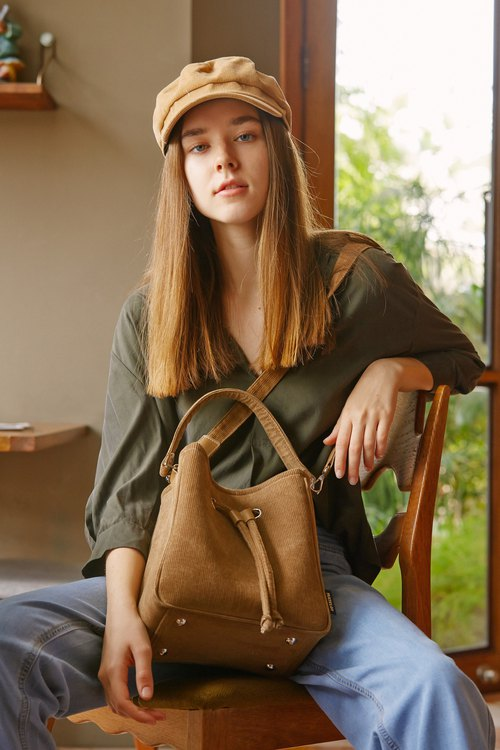 Khaki Corduroy Bucket Bag