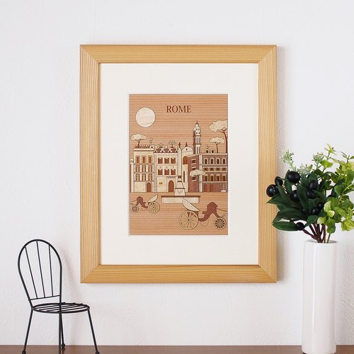 "Tree Rie ""Rome"" made in Japan wooden interior Art paste picture cut picture"