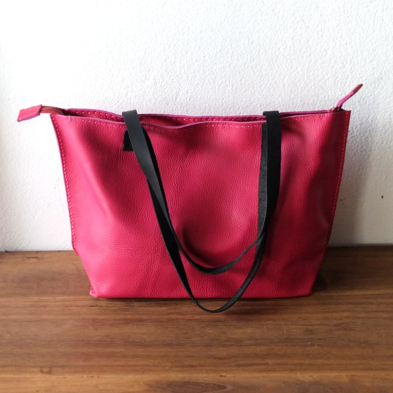 Pink Zipper Japanese Leather Tote Bag / Handmade Leather Weekend Bag