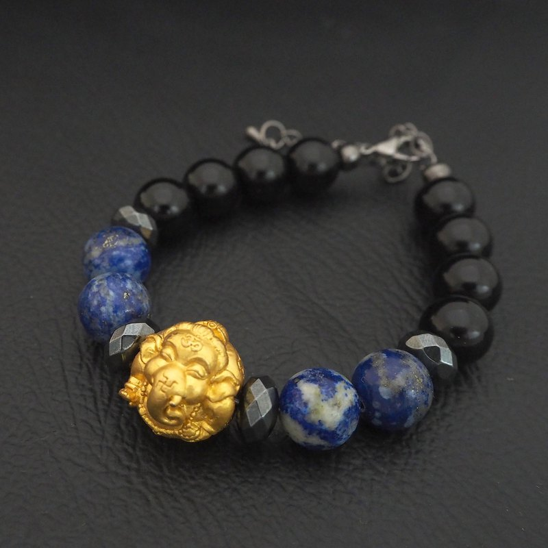 Thai Amulet Ganesh bead 12 mm.with Natural Stone Beads