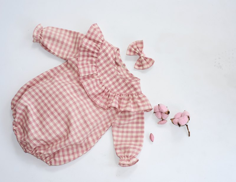 Hand Woven Natural Dyed Cotton Baby Girl Romper