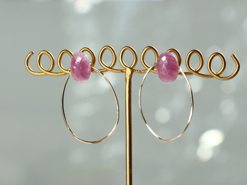 14 kgf-pink sapphire oval pierced earrings