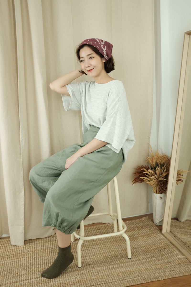 WHITEOAKFACTORY Momo loose pant - Green linen trousers