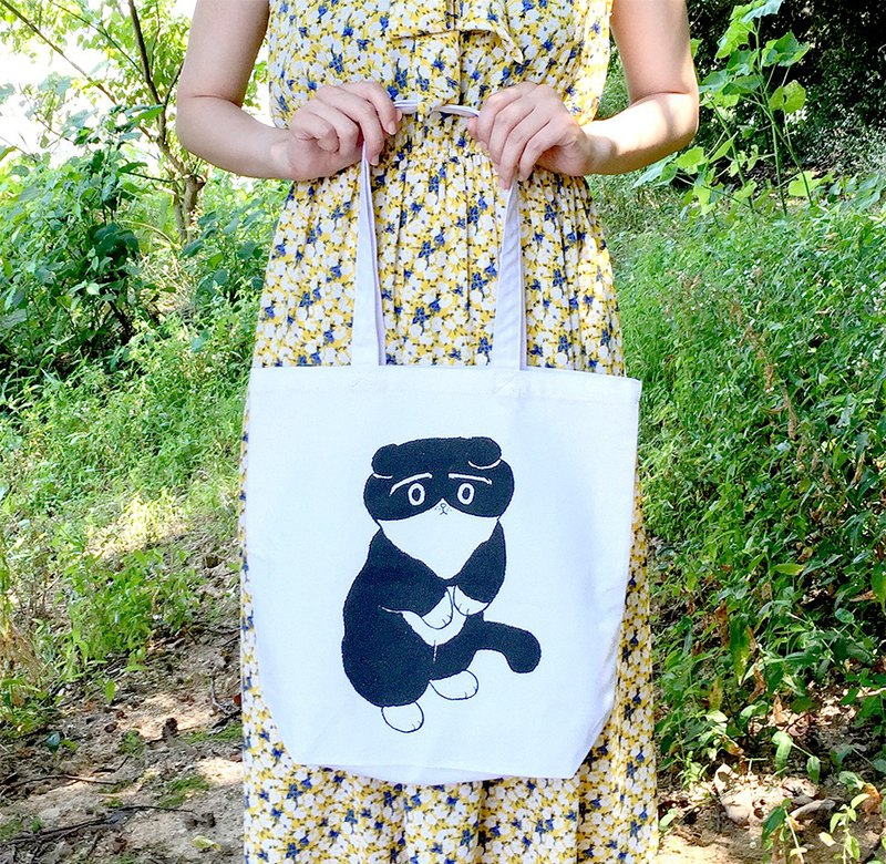 Black and white cat tote bag / white / natural