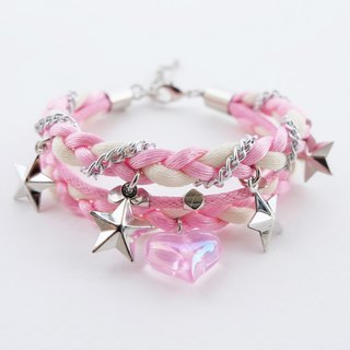 Pink white triple layers braided bracelet with heart and star charms
