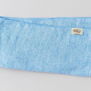 Linen Knit Stripe Face Towel Sky Blue × White