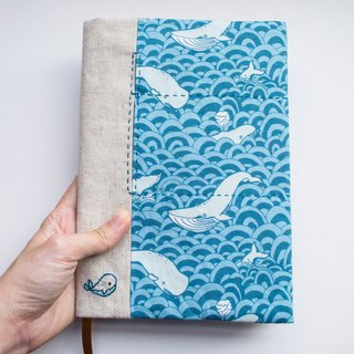 Whale of a time - adjustable A5 fabric bookcover