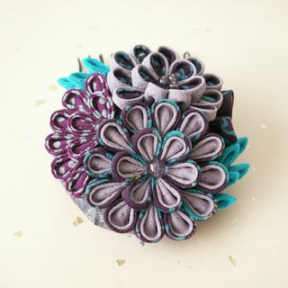 [New color] Kimamori crisp and trendy hair decorations made from old cloth [purple · blue]