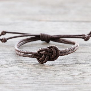 Infinity bracelet , waxed cotton cord bracelet in dark brown