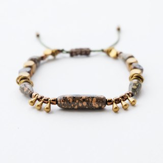 Military mixed beads brass materials string bracelet