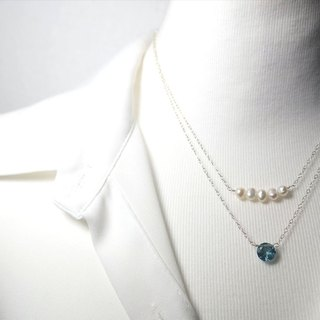 Blue Layered Necklace Pearl Crystal Necklace Blue Gemstone Necklace 925 Silver