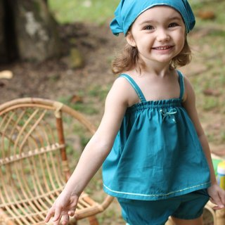 Aqua green baby girl bloomer set