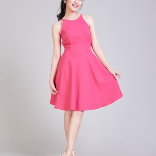 Fuchsia Dress Pink Crisscross Casual Dress Short Party Dress Swing Formal Dress