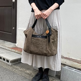 tanton - Olive tannin dyed canvas × leather bag