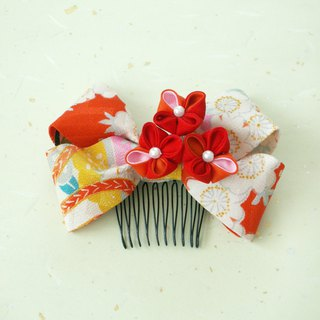 Using resale knobs' hair ornaments old cloth 【Ribbon · Red / Orange】