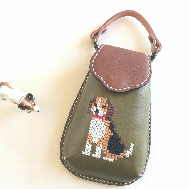 Cross stitch mobile case with a beagle    green
