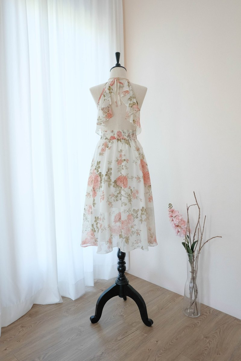 Creamy white dress Peach floral Bridesmaid dress Mid Length Cocktail Dress