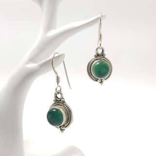 【ColorDay】绿玛瑙古典纯银耳环_5月诞生石_Green Agate Silver Earring_グリーンメノウ玛瑙